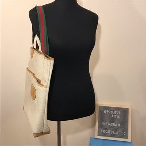 GUCCI Vintage Tote Bag GG Logo Canvas Leather